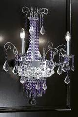 2-light clear crystal and polished stainless steel wall light. Masiero.