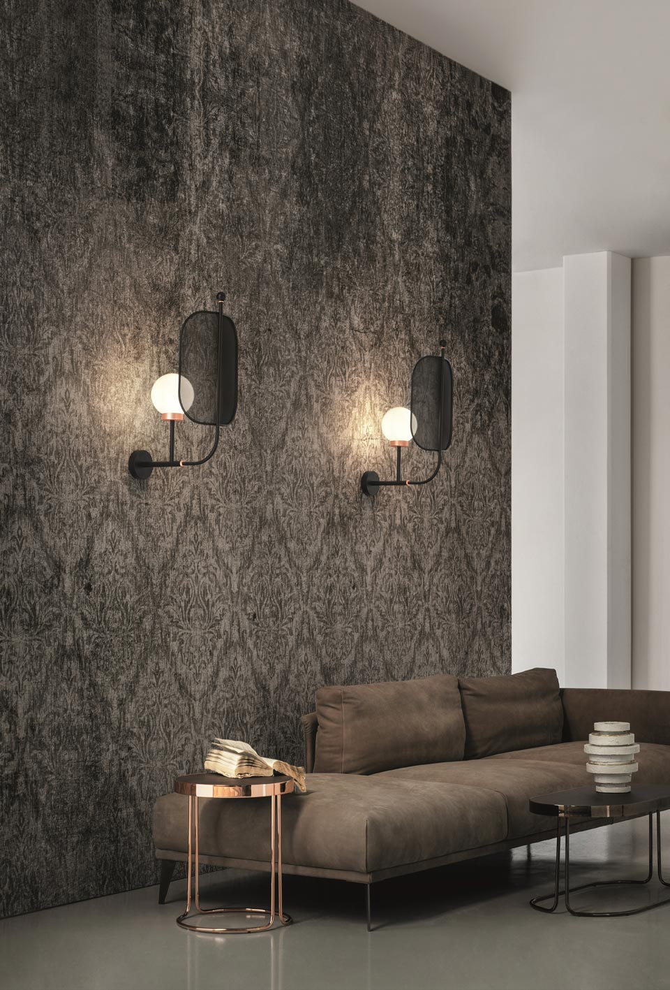 Contemporary black and copper wall lamp Papilio. Masiero.