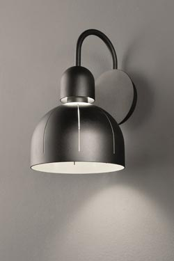 Cupole wall lamp in grained black metal and LED lighting. Masiero.