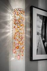 Cylindrical wall light in pink and orange crystal . Masiero.