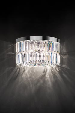 Half-round wall sconce 2 lights in crystal. Masiero.