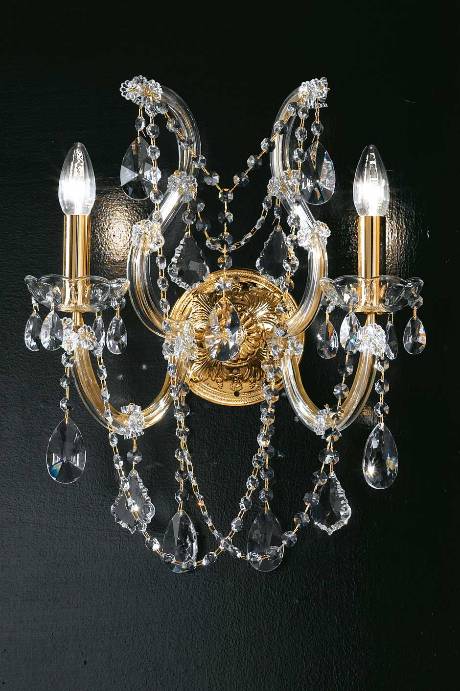 Twin wall light in clear crystal and gold-plated metal. Masiero.