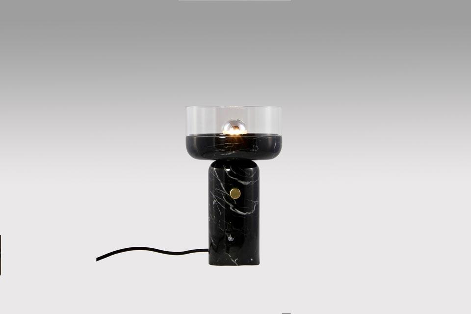 Coppa, lampe en marbre noir et verre transparent. Matlight.