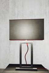 Grande lampe en marbre gris forme rectangle . Matlight.