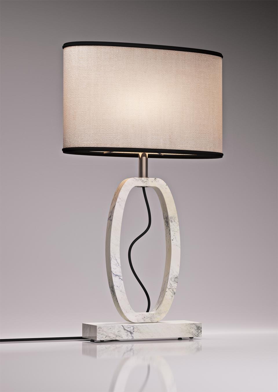 Lampe Déco en marbre blanc grand modèle . Matlight.