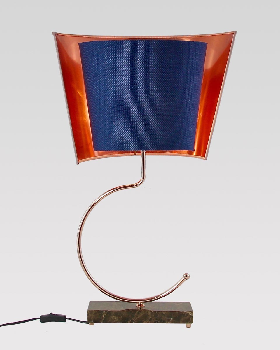 Lampe en marbre brun Empereur et cuivre brillant. Matlight.