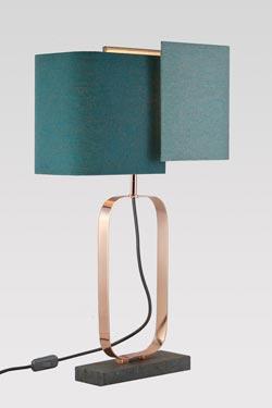 Lampe en marbre gris et cuivre brillant Cubic. Matlight.