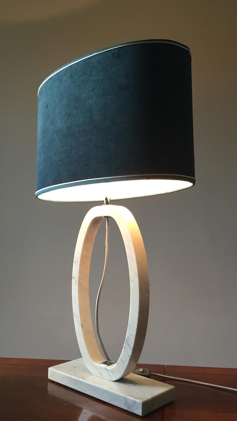 grande lampe en marbre de carrare blanc forme ovale. Black Bedroom Furniture Sets. Home Design Ideas