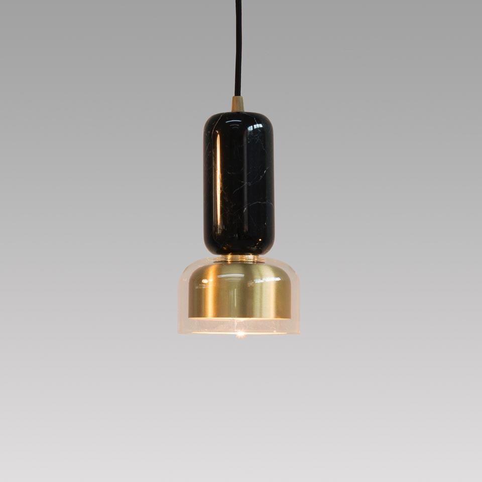 Andromeda black marble and satin brass pendant. Matlight.