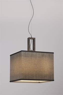 Contemporary simple pendant lampshade in grey cotton and golden interior. Matlight.