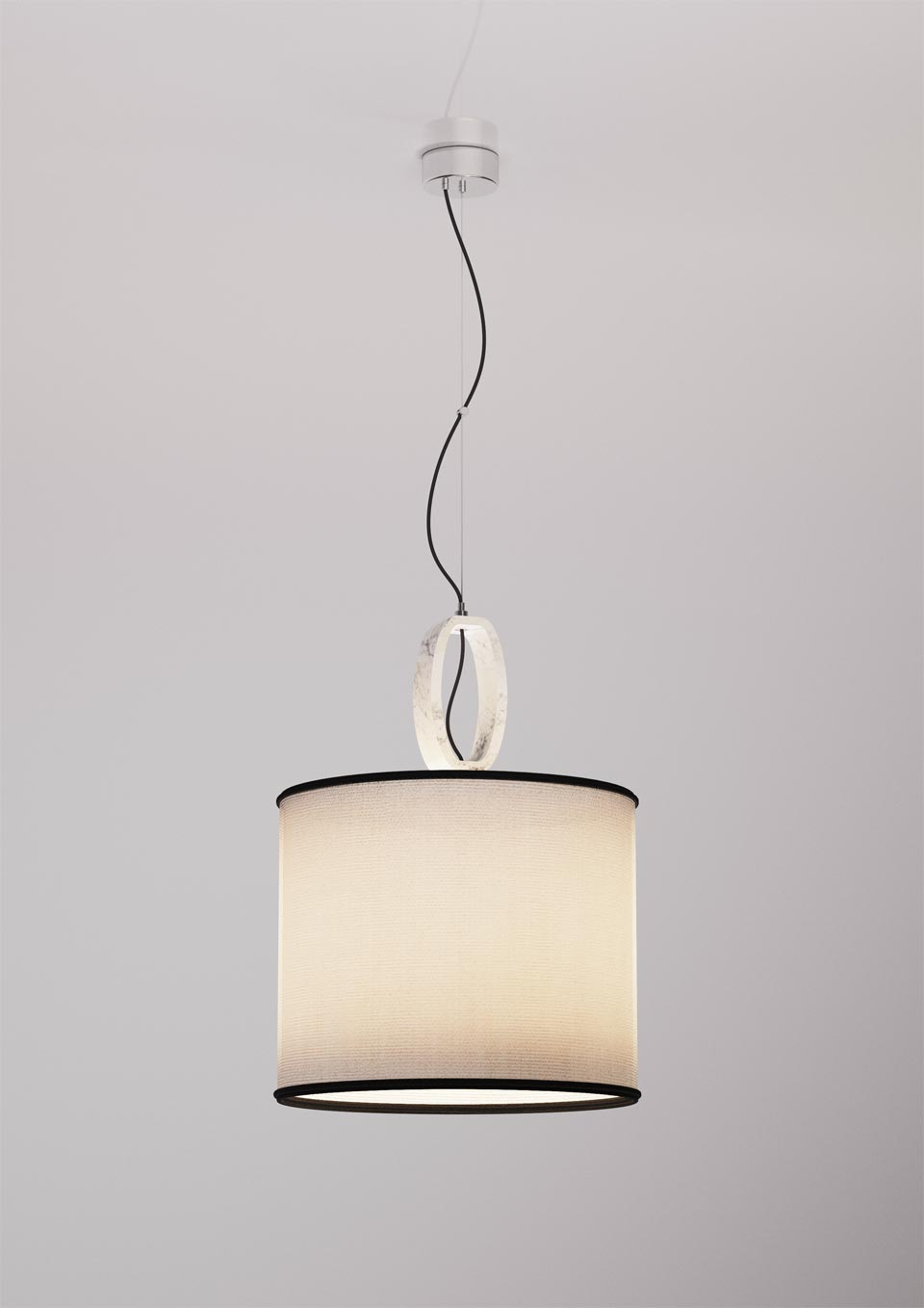 Single white pendant Deco ivory linen shade with black trim. Matlight.