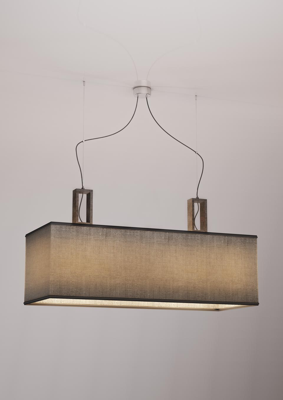 Suspension double grise en marbre Contemporary. Matlight.