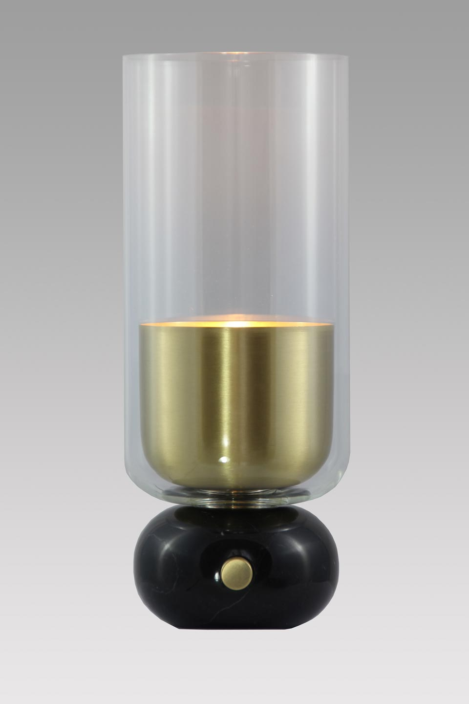 Andromeda black marble and satin brass lamp. Matlight.