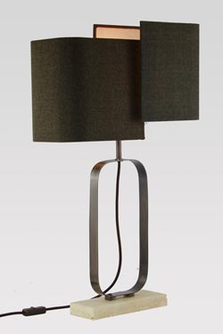 Beige marble and burnished brass table lamp. Matlight.