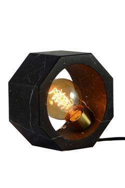 Black marble octagonal table lamp. Matlight.