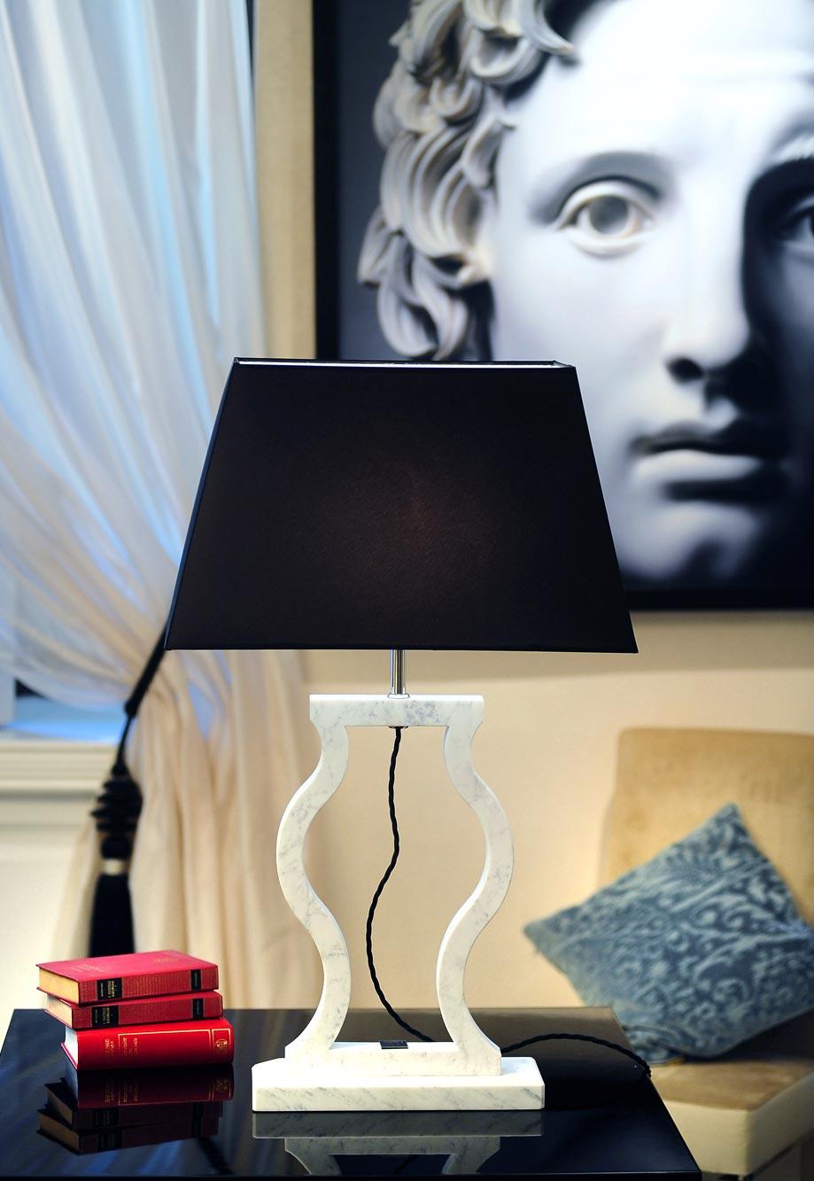 Classic Carrara marble lamp. Matlight.