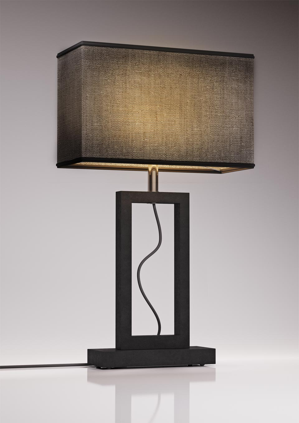 Contemporary large grey marble lamp. Matlight.