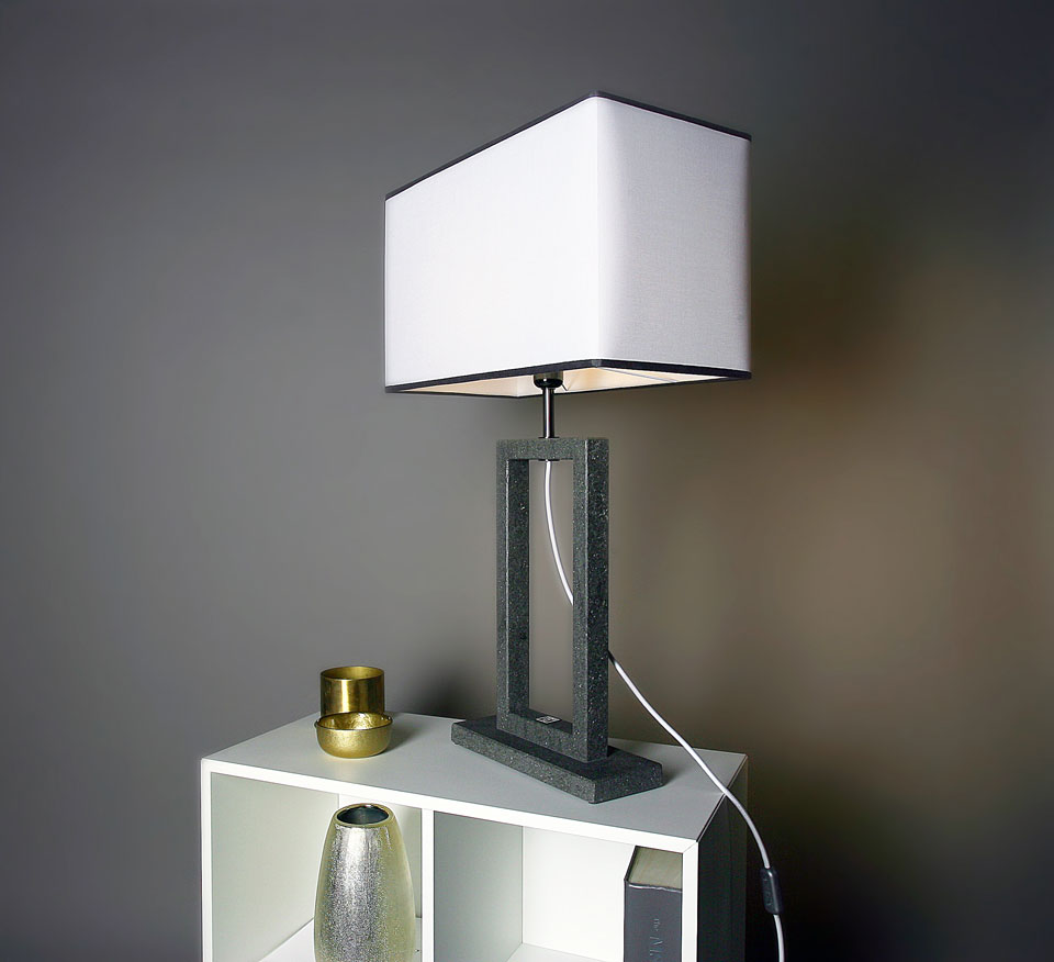 Contemporary Table Lamp With Two Tone Lampshade Medium Model