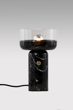 Coppa, black marble and clear glass table lamp. Matlight.