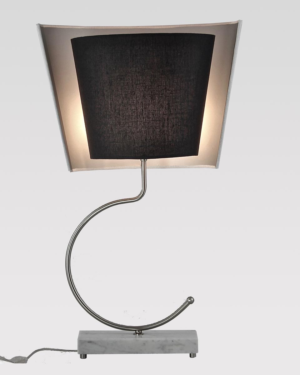 Lamp in white Carrara marble and satin nickel. Matlight.