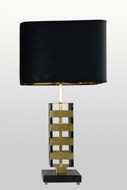 Jenga black marble and brushed brass table lamp. Matlight.