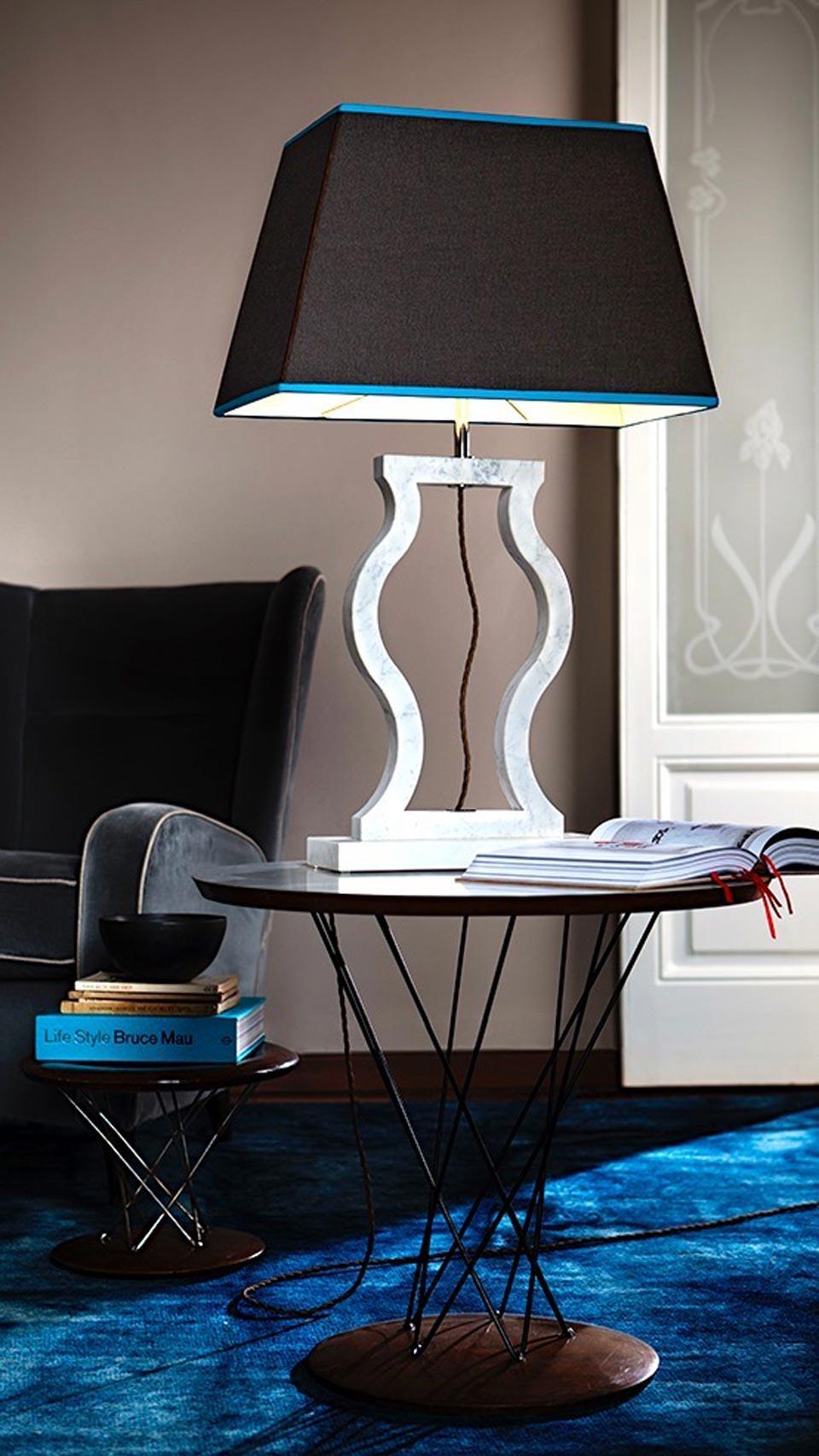 Large grey marble lamp with amphora shape. Matlight.