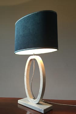 Large white oval shaped Carrara marble table lamp. Matlight.