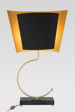Marquinia black marble and satin brass lamp. Matlight.
