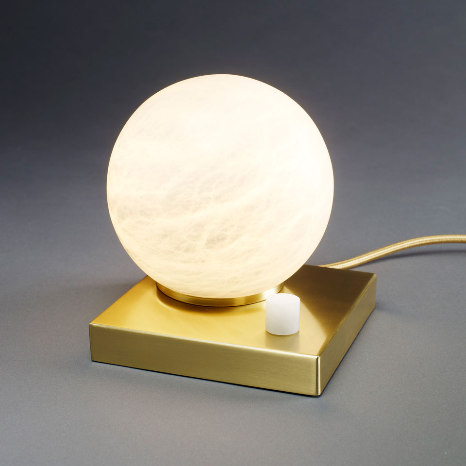 Table lamp on a square base with dimmer