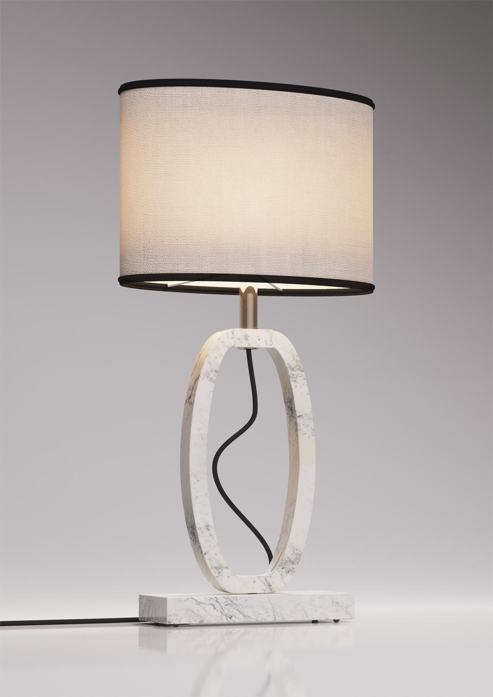 Small Deco lamp in Carrara marble. Matlight.