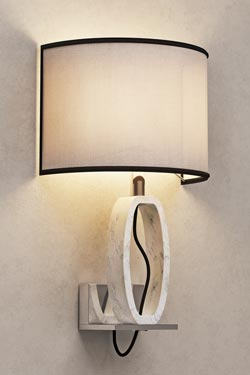 Deco wall lamp in white marble and chrome metal support. Matlight.