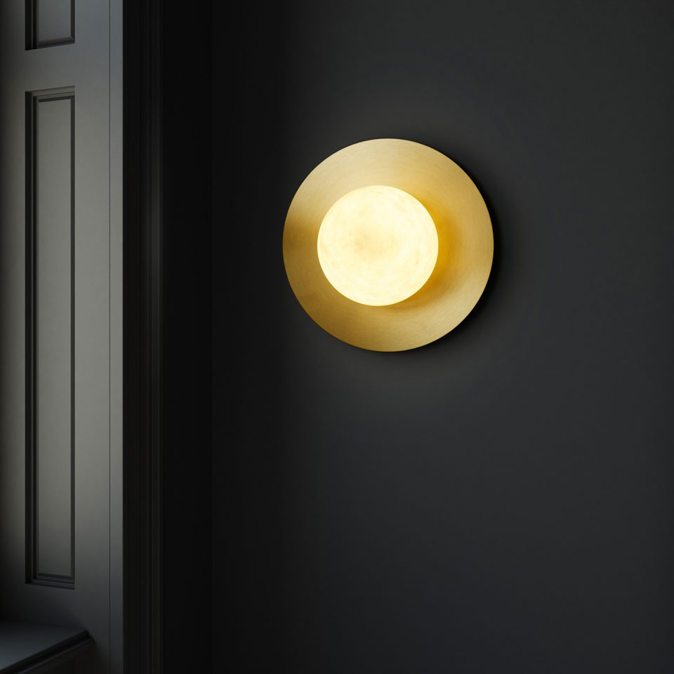 Moons White Marble Round Wall Sconce