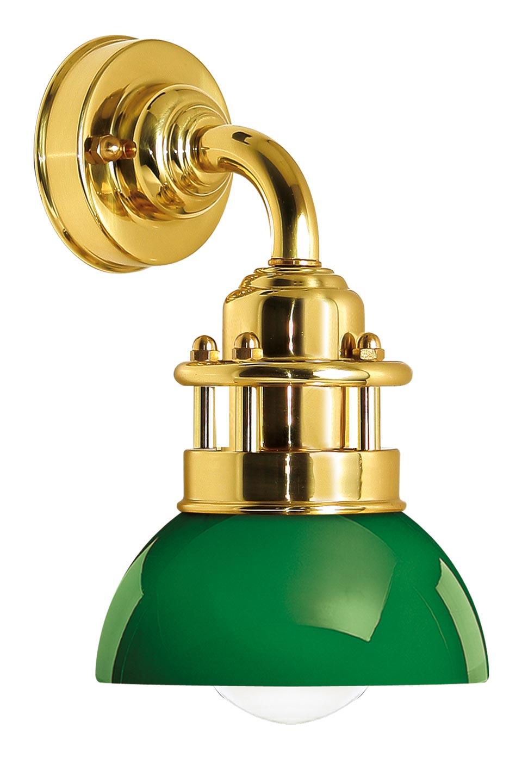 Applique bateau en laiton poli verni et verre vert. Moretti Luce.