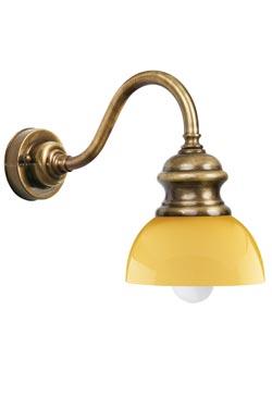 Applique en laiton verni et verre jaune. Moretti Luce.