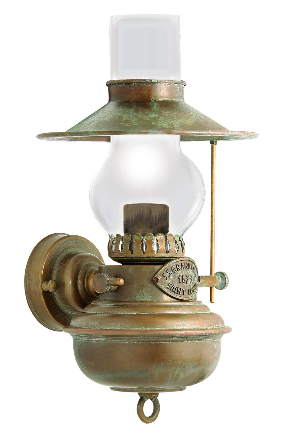 Patina brass oil lamp wall light. Moretti Luce.