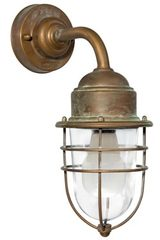 Storm exterior wall light in aged brass curved rod. Moretti Luce.