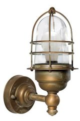 Storm style outdoor wall light in aged brass. Moretti Luce.