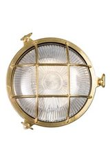 Tortuga outdoor wall light porthole with round transparent glass . Moretti Luce.