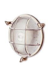 Tortuga outdoor silver round wall lamp. Moretti Luce.