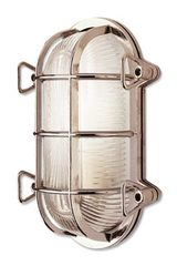 Tortuga oval exterior wall light with silver finish. Moretti Luce.