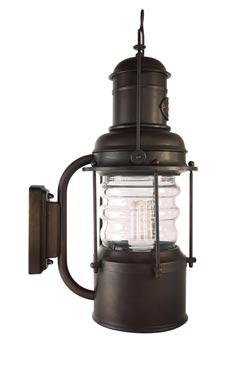 Grande applique lanterne marine cylindrique en laiton patine cuivre. Moretti Luce.
