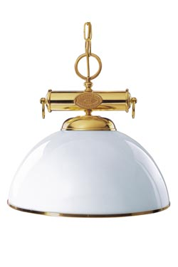 Grande suspension coupole blanche style marin. Moretti Luce.