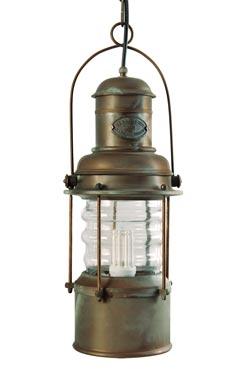 Grande suspension lanterne marine cylindrique en laiton patiné cuivre. Moretti Luce.