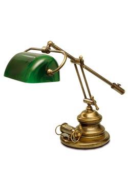 Lampe de bibliothèque américaine verte à contrepoids laiton naturel. Moretti Luce.