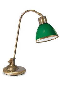 Lampe de bureau en laiton verni et verre opale vert. Moretti Luce.
