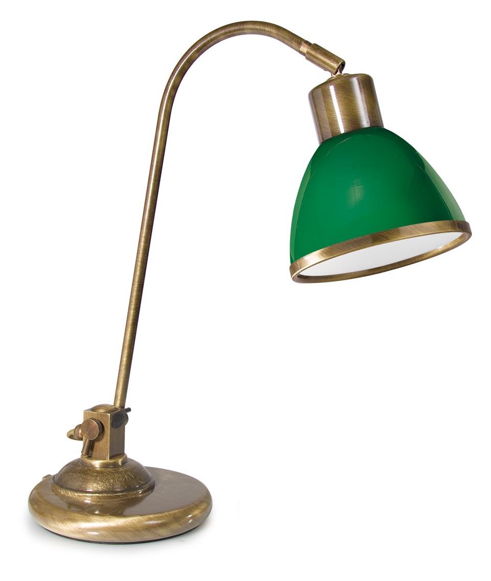 Lampe de bureau en laiton verni et verre opale vert r f - Lampe de bureau banquier laiton verre vert ...