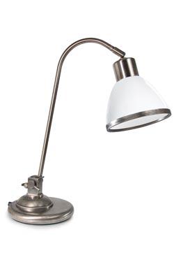 Lampe de table en nickel patiné et verre opale blanc. Moretti Luce.