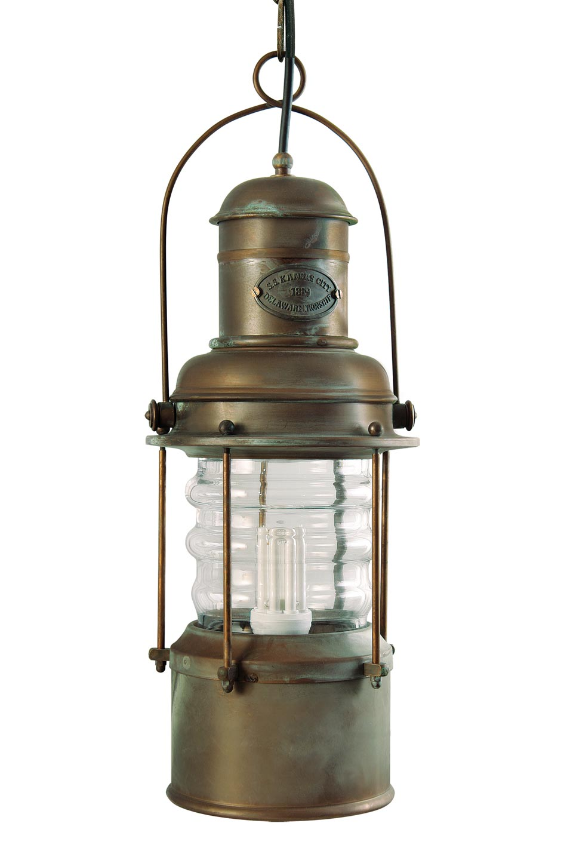 Grande suspension lanterne marine cylindrique en laiton for Lampe exterieur electrique