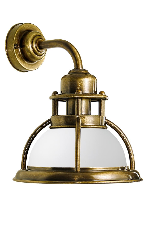 Applique de marine en laiton naturel et verre opale blanc - Lampe de bureau banquier laiton verre vert ...