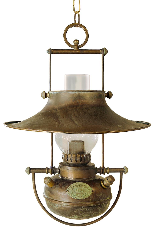 suspension lampe p trole en laiton patin r f 13060259. Black Bedroom Furniture Sets. Home Design Ideas